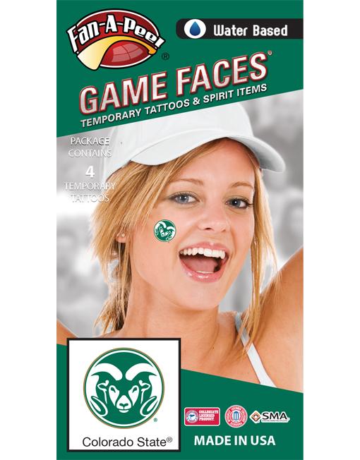 C-168-R_Fr - Colorado State University (CSU) Rams - Water Based Temporary Spirit Tattoos - 4-Piece - Green/White Ram Head Circle Logo
