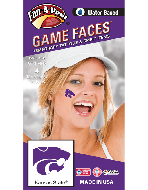 CB-92-R_Fr - Kansas State University (KSU) Wildcats - Water Based Temporary Spirit Tattoos - 4-Piece - Purple Willie Cat Head Logo