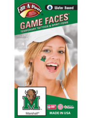 CF-177-R_Fr - Marshall University Thundering Herd - Water Based Temporary Spirit Tattoos - 4-Piece - Green Bison Head M Logo