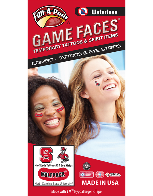 CP-58-R_Fr - North Carolina State University (N.C. State) Wolfpack - Waterless Peel & Stick Temporary Tattoos - 12-Piece Combo - 4 Red/Black NCS Logo & 4 Mr Wuf Logo Spirit Tattoos & 4 Black/White Wolfpack on Red Eye Strips
