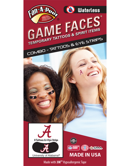 CP-11-R_Fr - University of Alabama (UA) Crimson Tide - Waterless Peel & Stick Temporary Tattoos - 12-Piece Combo - 8 Crimson A Logo Spirit Tattoos & 4 White A Logo on Black Eye Strips