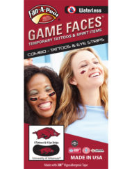 CP-37-R_Fr - University of Arkansas (UARK) Razorbacks - Waterless Peel & Stick Temporary Tattoos - 12-Piece Combo - 8 Red/Black/White Tusk Logo Spirit Tattoos & 4 Red/Black/White Tusk Logo on Black Eye Strips