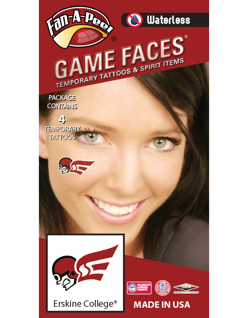 W-C-367_Fr - Erskine College Flying Fleet - Waterless Peel & Stick Temporary Spirit Tattoos - 4-Piece - Pilot Head Logo
