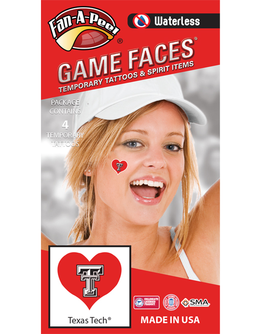 W-C-HRT-71_Fr - Texas Tech (TTU) Red Raiders - Waterless Peel & Stick Temporary Spirit Tattoos - 4-Piece - White TT Logo on Scarlet Heart