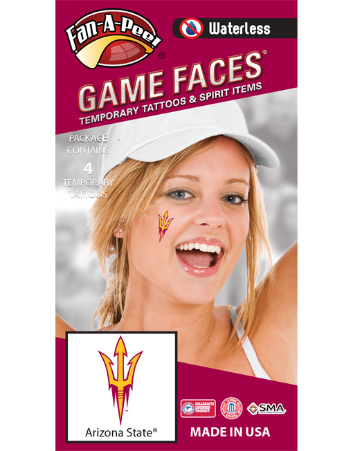 W-CF-39_Fr - Arizona State University (ASU) Sun Devils - Waterless Peel & Stick Temporary Spirit Tattoos - 4-Piece - Maroon/Gold Trident Logo