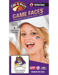 W-CL-43_Fr - East Carolina University (ECU) Pirates - Waterless Peel & Stick Temporary Spirit Tattoos - 4-Piece - Skull Head w/ Purple ECU Hat Logo